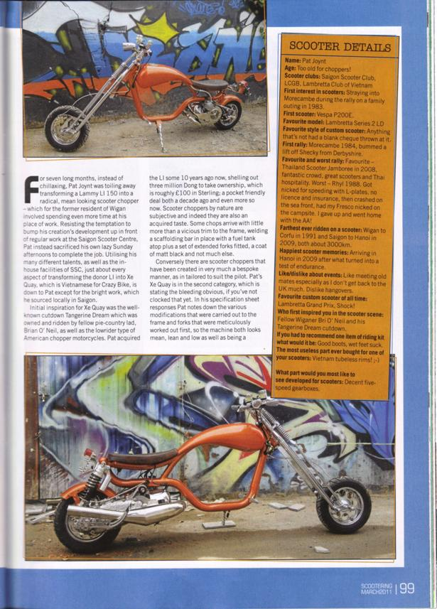 SSC Custom Lambretta chopper – Scootering Magazine Issue March 2011