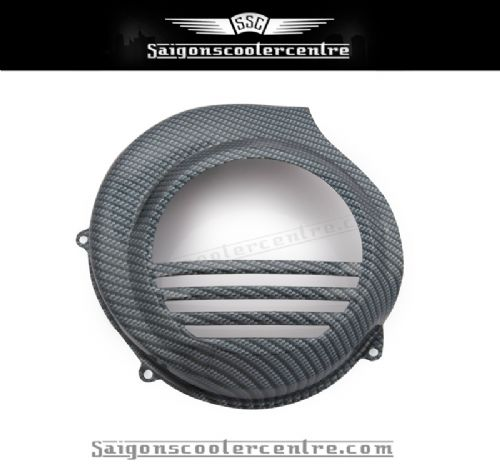 FLYWHEEL COVER. METAL ,MACHINE PRESSED WITH  CARBON FIBRE FINISH