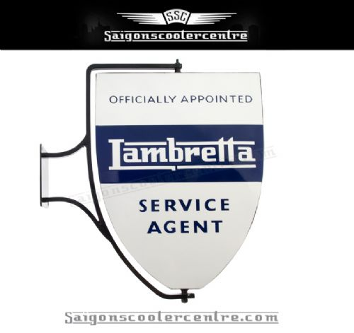 "WALL MOUNTED SWINGING WALL SIGN. ""LAMBRETTA SERVICE AGENT"". AIR BRUSHED LOGO'S WITH POWDER COATED FRAME IN BLACK. DOUBLE SIDED.